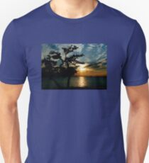 DEEP SUNSET REFLECTIONS WITH FOREGROUND TREE Unisex T-Shirt