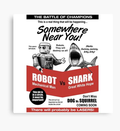 Robot vs. Shark Canvas Print
