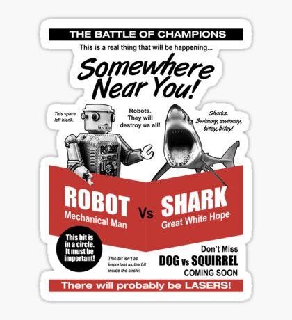 Robot vs. Shark Sticker