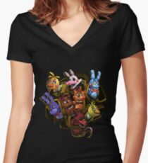 Five Nights at Freddy's 2 Women's Fitted V-Neck T-Shirt