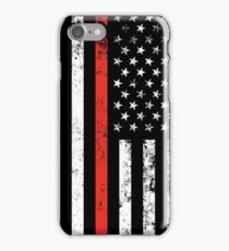 Patriotic Firefighter Style Thin Red Line Flag iPhone Case/Skin