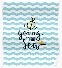 Summer beach background with beautiful nautical elements Poster