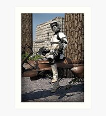 Stormtrooper in the forest Art Print