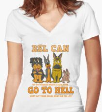 BREED SPECIFIC LEGISLATION CAN GO TO HELL Women's Fitted V-Neck T-Shirt