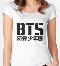 BTS Bangtan Boys Logo/Text Women's Fitted Scoop T-Shirt