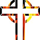 The Cross On Fire-Available As Art Prints-Mugs,Cases,Duvets,T Shirts,Stickers,etc by Robert Burns