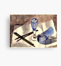 Blue vintage glass Canvas Print