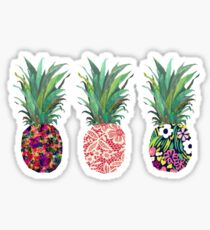 three pineapples floral Sticker