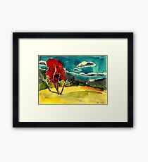 autumn landscape with red tree Framed Print