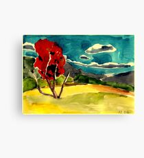 autumn landscape with red tree Canvas Print
