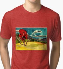 autumn landscape with red tree Tri-blend T-Shirt