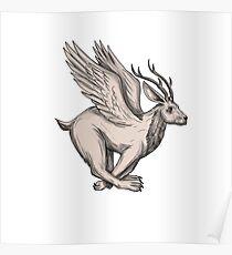 Wolpertinger Running Side Tattoo Poster