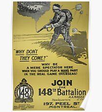WW1 Propaganda Poster - Vintage Canada 148th Batallion Design Poster