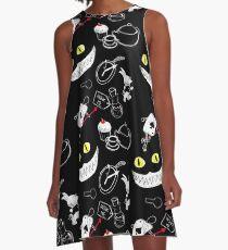 Alice im Wunderland-Muster A-Linien Kleid