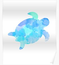 water color sea turtle Poster