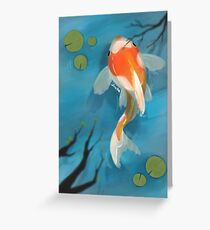 Koi fish in a pond Greeting Card