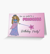 10th Birthday Invitation Pink Princess with Sparkly-Look Wand Greeting Card