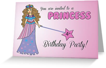 4th Birthday Invitation Pink Princess With Sparkly Look Wand