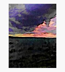 Pink Sky with Lavender Clouds and the Dark Sea Photographic Print