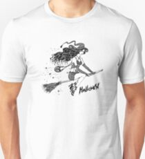 witch hat flying on a broomstick, halloween inscription Unisex T-Shirt