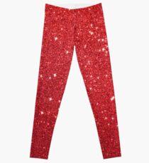 Soft Red Glittery Princess Valentine Bling Glitter Sparkles Leggings