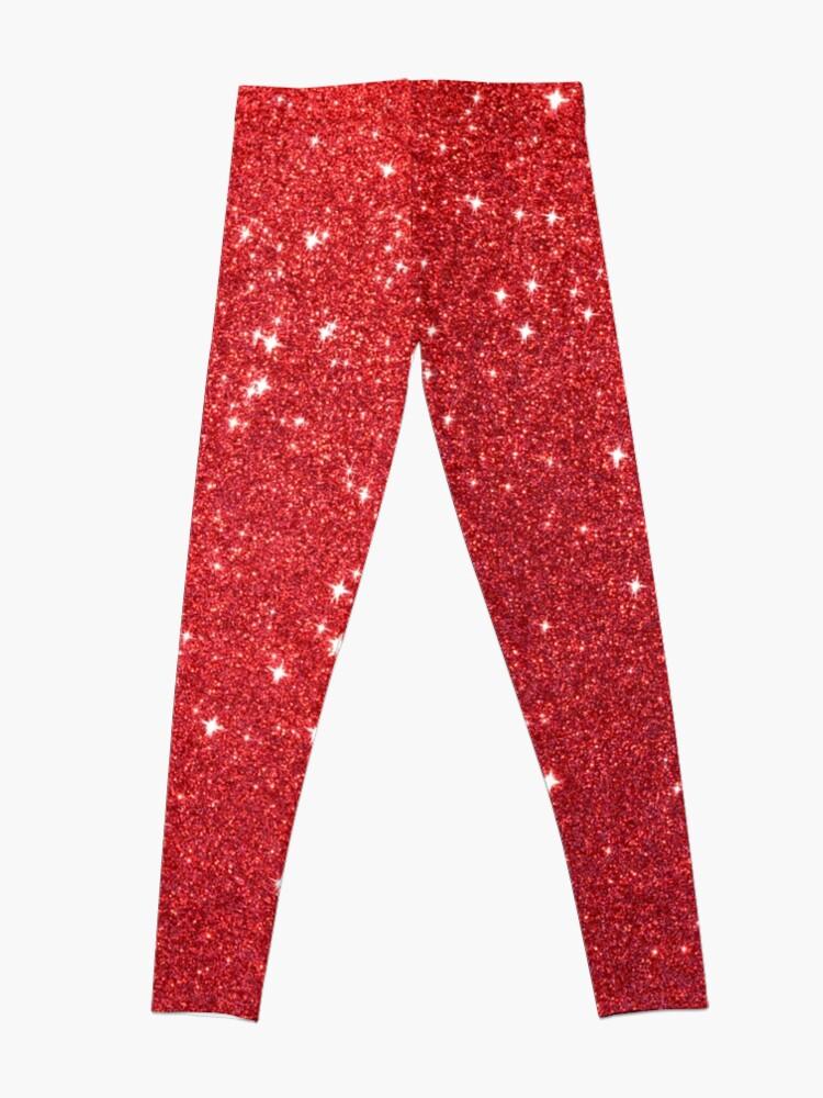 Alternate view of Soft Red Glittery Princess Valentine Bling Glitter Sparkles Leggings