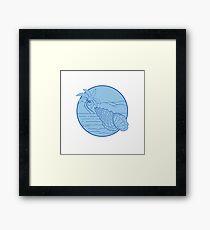 Giant Frog Shell Beach Palm Tree Circle Retro Framed Print