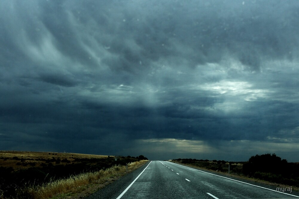 Stormy weather over The Nullarbor Desert by myraj