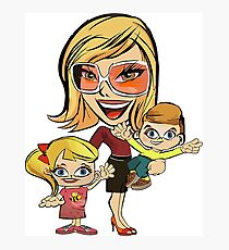 mom and kids caricature Photographic Print