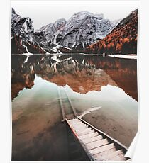 braies lake in trentino - italy Poster