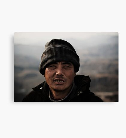 Sherpa on the great wall Canvas Print