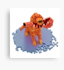 Voxel dog with ham Canvas Print