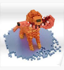 Voxel dog with ham Poster