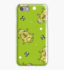 Seamless pattern. Tiger cub top view and bows iPhone Case/Skin