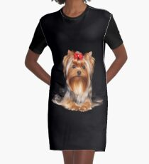 Yorkie with bow Graphic T-Shirt Dress