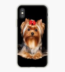 Yorkie with bow iPhone Case