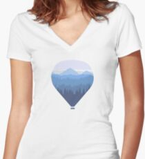 Hot air balloon over forest and mountains Women's Fitted V-Neck T-Shirt