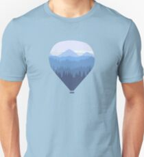 Hot air balloon over forest and mountains T-Shirt
