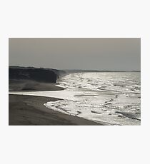 Silver Coast - Misty Cliffs and Glossy Ocean at Foz do Arelho Portugal Photographic Print