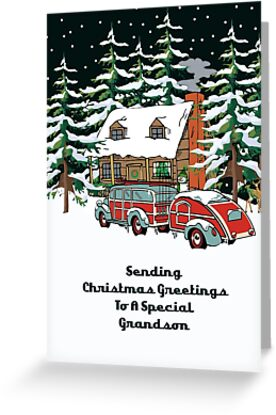 Grandson Sending Christmas Greetings Card by Gear4Gearheads