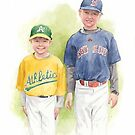 little league brothers watercolor  by Mike Theuer