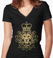 Vintage Magestic Lion Women's Fitted V-Neck T-Shirt