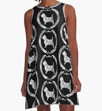 Cairn Terrier Camo Silver A-Line Dress