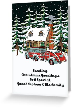 Great Nephew And His Family Sending Christmas Greetings Card by Gear4Gearheads