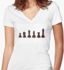 black chess pieces Women's Fitted V-Neck T-Shirt