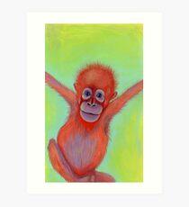 Baby Orangutan Painting Art Print