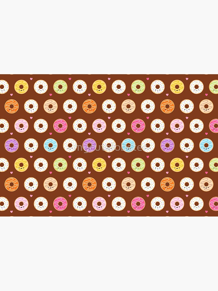 Colorful Donuts Pattern on brown by mycutelobster