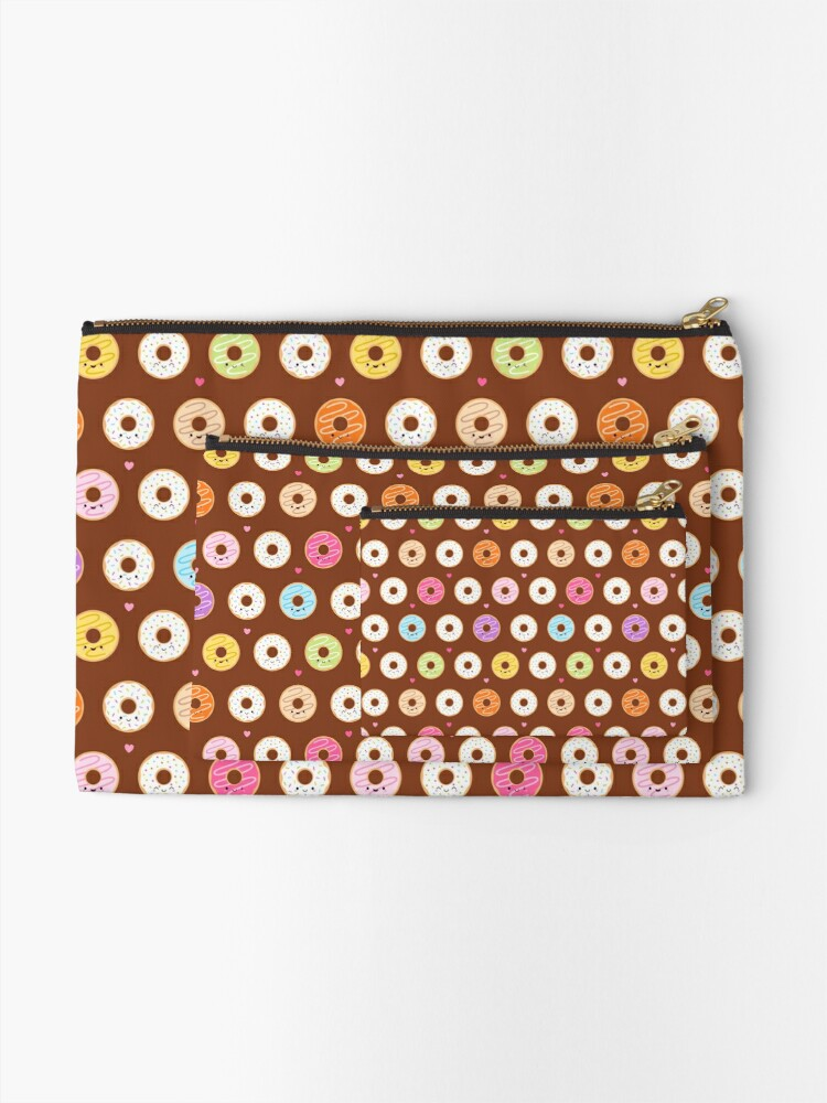 Alternate view of Colorful Donuts Pattern on brown Zipper Pouch