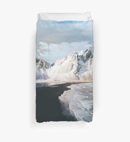 Iceland beach at sunset - Landscape Photography Duvet Cover