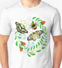 Sticker on a T-shirt from insects.  Unisex T-Shirt